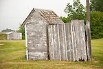 Weathered, white wooden outhouse at the historic Czech hall ACBJ-WFLA example of Bohemian architecture..Rad Slavin No. 112