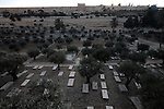 An old Christian cemetery at Kidron Valley, located between the Mount of Olives and the Temple Mount in Jerusalem.