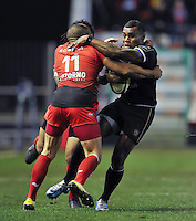 Semesa Rokoduguni of Bath Rugby is tackled by Bryan Habana of Toulon. European Rugby Champions Cup match, between RC Toulon and Bath Rugby on January 10, 2016 at the Stade Mayol in Toulon, France. Photo by: Patrick Khachfe / Onside Images