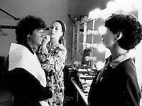 Montreal (Qc) CANADA - 1992 File Photo - Robert Charlebois get his make up done backstage