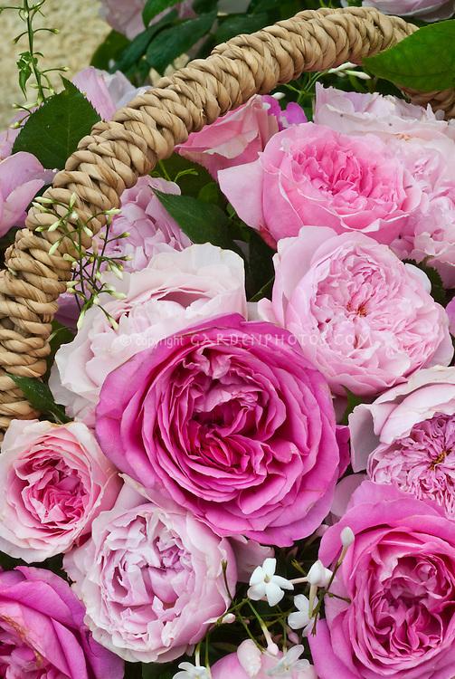 Pink Roses in basket