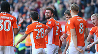 Blackpool's Clark Robertson celebrates scoring his sides second goal with teammates<br /> <br /> Photographer Alex Dodd/CameraSport<br /> <br /> The EFL Sky Bet League Two - Blackpool v Cheltenham Town - Saturday 22nd April 2017 - Bloomfield Road - Blackpool<br /> <br /> World Copyright &copy; 2017 CameraSport. All rights reserved. 43 Linden Ave. Countesthorpe. Leicester. England. LE8 5PG - Tel: +44 (0) 116 277 4147 - admin@camerasport.com - www.camerasport.com