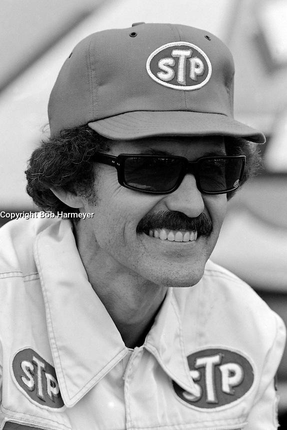 DAYTONA BEACH, FL - FEBRUARY 14: Richard Petty pauses in the pit lane after qualifying the Petty Enterprises Pontiac for the Daytona 500 NASCAR Winston Cup race at the Daytona International Speedway in Daytona Beach, Florida, on February 14, 1982.