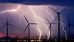 Lightning streaks across the sky near the wind turbines in Palm Springs early Tuesday morning, September 20, 2005. This photo was taken at 6:10 am, one mile west of Indian Canyon Drive and one block south of Interstate 10.