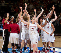 Stanford, CA., March 24, 2013-- Stanford's Sara James waves to the crowd after Sunday's, March 24, 2013, first round 2013 NCAA Division I Women Basketball game against Tulsa. Stanford won the game 72-56. ( Norbert von der Groeben / ISI Photo )
