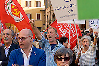 Roma 4 Maggio 2015<br /> Manifestazione  davanti Montecitorio contro la  nuova legge elettorale 'Italicum', del Governo Renzi, approvata oggi in Parlamento.<br /> Rome May 4, 2015<br /> Demonstration outside the Montecitorio, against the new electoral law 'Italicum', of the  Renzi's government, approved today in Parliament.