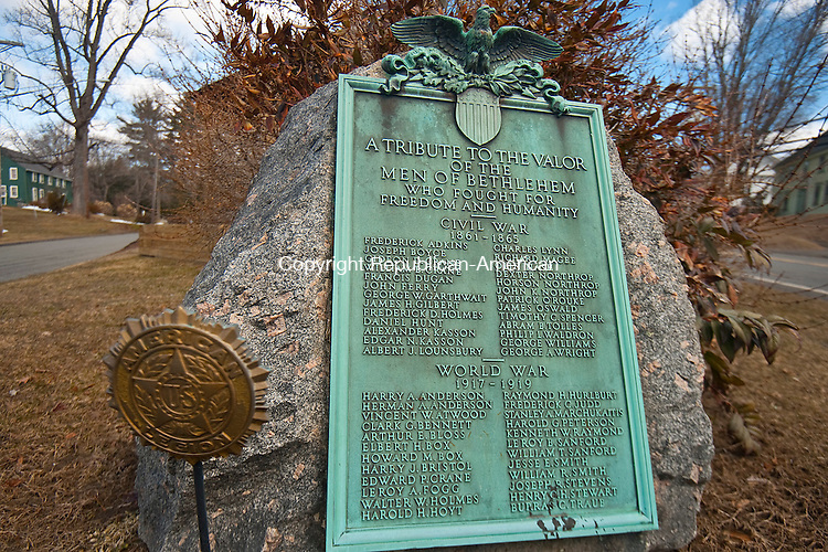 BETHLEHEM ,  CT,  CT-041115JS66- A plaque on the green in Bethlehem, listed the names of those who fought in the Civil War as well is WWI. <br /> Jim Shannon Republican-American