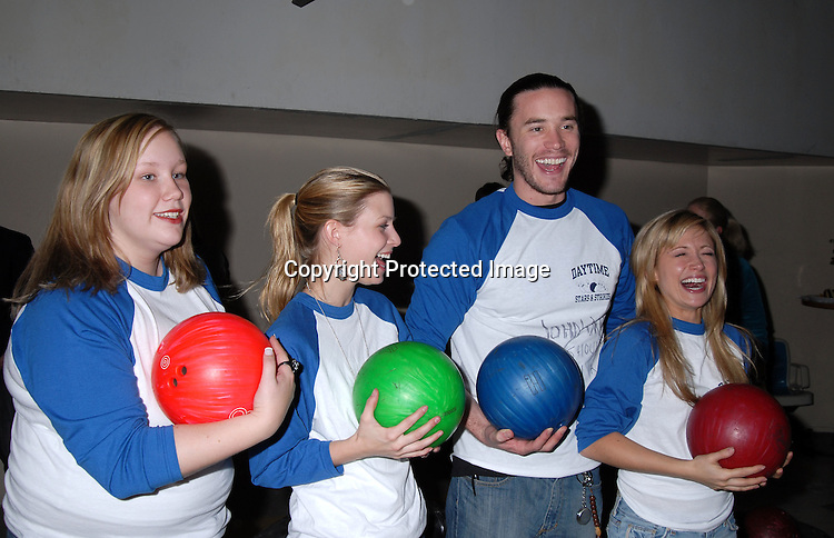 """Caitlin Van Zandt, Stephanie Gatschet, Tom Pelphrey and Marcy Rylan ..at The """"Daytime Stars and Strikes"""" Bowling event on ..October 15, 2006 at The Leisure Time Bowling Center..at The Port Authority which benefitted The American Cancer Society. ..Robin Platzer, Twin Images"""