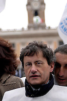 Rome   April 4  2007.Demonstration for the security Of the People Of the Liberties' in Capitol.The mayor of Rome Gianni Alemanno
