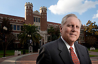 TALLAHASSEE, FL. 1/27/09-FSU-WETHERELL CH-Florida State University President T.K. Wetherell stands outside Westcott Hall, the administration building for the Tallahassee Campus...COLIN HACKLEY PHOTO FOR CROSS TALK