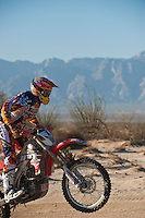 1x Honda motorcyle ridden by David Kamo passes race mile 58 in 2012 San Felipe Baja 250, San Felipe, Baja California, Mexico.