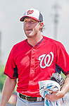 20 March 2015: Washington Nationals pitcher Max Scherzer finishes his warm-ups prior to a Spring Training game against the Houston Astros at Osceola County Stadium in Kissimmee, Florida. The Nationals defeated the Astros 7-5 in Grapefruit League play. Mandatory Credit: Ed Wolfstein Photo *** RAW (NEF) Image File Available ***