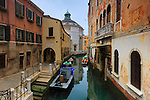 A view of Rio della Madallena, a canal of Venice, with the church of La Maddalena in the background. Stitched from five vertical frames.