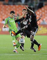 DC United midfielder Clyde Simmis (19) goes against Seattle Sounders midfeilder Fredy Montero (17)   DC United defeated The Seattle Sounders 2-1 at  RFK Stadium, Wednesday May 4, 2011.