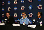 05 December 2009: From left: head coach Anson Dorrance, defender Kristi Eveland, and forward Jessica McDonald. The University of North Carolina Tar Heels held a press conference at the Aggie Soccer Complex in College Station, Texas on the day before playing the Stanford University Cardinal in the NCAA Division I Women's College Cup championship game.