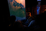 An elderly man aboard a free public bus from Sarajevo to Srebrenica at 0500 during the 14th anniversary of the genocide.