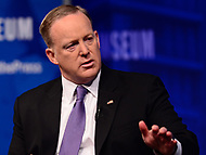"Washington, DC - April 12, 2017: Sean Spicer, White House Press Secretary for President Trump, participates in ""The President and The Press: The First Amendment in 100 Days"" forum at the Newseum in the District of Columbia April 12, 2017.  (Photo by Don Baxter/Media Images International)"
