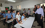 Palestinian Prime Minister Salam Fayyad visits ''al-Auja'' school in the occupied West Bank city of Jericho on September 30, 2012. Photo by Mustafa Abu Dayeh