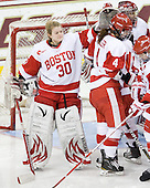 Alissa Fromkin (BU - 30), Kathryn Miller (BU - 4) - The Northeastern University Huskies tied Boston University Terriers 3-3 in the 2011 Beanpot consolation game on Tuesday, February 15, 2011, at Conte Forum in Chestnut Hill, Massachusetts.