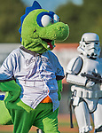 4 September 2016: As part of a Star Wars evening at the ballpark, the Vermont Lake Monsters Mascot Champ entertains the fans prior to a game against the Lowell Spinners at Centennial Field in Burlington, Vermont. The Spinners defeated the Lake Monsters 8-3 in NY Penn League action. Mandatory Credit: Ed Wolfstein Photo *** RAW (NEF) Image File Available ***