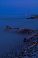 Oakville lighthouse in the evening light with a 30 second exposure