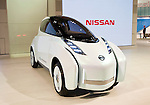 Nissan Motor Co.'s Land Glider electric concept car is displayed during a pre-opening day for the media two days before the start of the 41st Tokyo Motor Show 2009 at Makuhari Messe in Chiba, Japan on Wed., Oct. 21 2009..Photographer: Robert Gilhooly