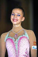 Daria Dmitrieva of Russia smiles during awards ceremony in Event Finals at Holon Grand Prix, Israel on March 5, 2011.  (Photo by Tom Theobald).