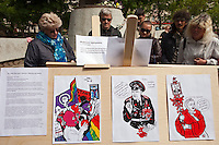 Moscow, Russia, 15/05/2012..Opposition political cartoons in Chistiye Prudy, or Clean Ponds, as a Moscow court ordered the eviction of some 200 opposition activists who have set up camp in the city centre park.