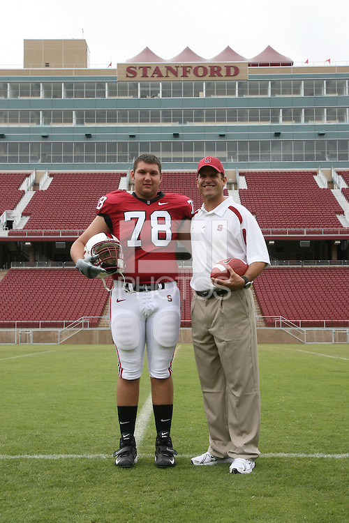 6 August 2007: Brad Hallick and head coach Jim Harbaugh during picture day at Stanford Stadium in Stanford, CA.