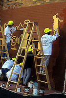 Volunteers from New York Cares paint a mural in a New York public school (© Frances M. Roberts)
