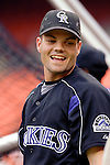14 June 2006: Jamey Carroll, second baseman for the Colorado Rockies, warms up prior to a game against the Washington Nationals in Washington, DC. The Rockies defeated the Nationals 14-8 in front of 24,273 fans at RFK Stadium...Mandatory Photo Credit: Ed Wolfstein Photo...
