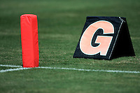 17 May 2005: Goal line markers, Football, grass, field, marker, goal line, chalk, stock, closeup, texture, Sports Ball graphic detail, illustration, product, art, clean. Ready for all uses.  Mandatory Credit:  Shelly Castellano