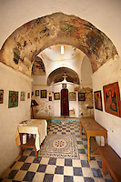Interior of the Byzantine church of Taxiarchis (Archangels ), Paliachora, Aegina Greek Saronic Islands.