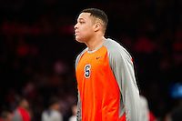 NEW YORK, NY - Sunday December 13, 2015: DaJuan Coleman (#32) of Syracuse warms up before the gameSt. John's defeats Syracuse 84-72 during the NCAA men's basketball regular season at Madison Square Garden in New York City.