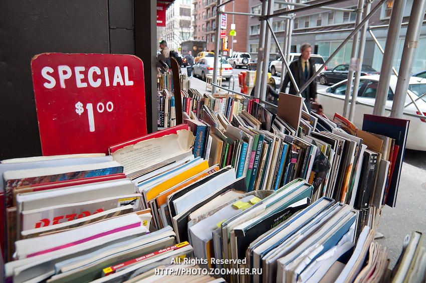 Used books sale in Strand bookstore, Manhattan, New York City