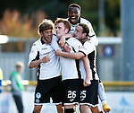 Inverness Caledonian Thistle v St Johnstone...24.10.15  SPFL  Tulloch Stadium, Inverness<br /> Liam Craig celebrates his penalty in injury time with Murray Davidson, Darnell Fisher and Chris kane<br /> Picture by Graeme Hart.<br /> Copyright Perthshire Picture Agency<br /> Tel: 01738 623350  Mobile: 07990 594431