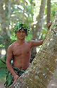 Francis Tithin, a guide at &quot;Jungle Beach Adventure&quot;, Urunao Beach, Island of Guam.  .
