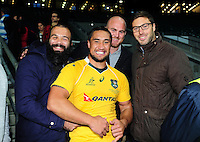 Leroy Houston of Australia poses for a photo with Bath Rugby team-mates Kane Palma-Newport, Matt Garvey and Matt Banahan on the occasion of his debut cap for the Wallabies. The Rugby Championship match between Argentina and Australia on October 8, 2016 at Twickenham Stadium in London, England. Photo by: Patrick Khachfe / Onside Images
