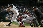 Seattle Mariners'  Seth Smith takes a strike against the Los Angeles Angels in the season home opener April 6, 2015 at Safeco Field in Seattle.  The Mariners beat the Angels 4-1.    ©2015. Jim Bryant Photo. ALL RIGHTS RESERVED.