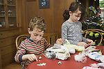Berkeley CA Siblings, five and seven, doing sculpting project together MR