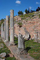 DELPHI, GREECE - APRIL 12 : A side view of the northern portico of the Roman Agora, on April 12, 2007 in the Sanctuary of Apollo, Delphi, Greece. The Roman Agora was built in the 4th century AD and is used as a storage of antiquities for the archaeological site. (Photo by Manuel Cohen)
