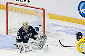 Ryan Flanigan (Merrimack - 20) makes it 2-0 Merrimack. - The University of Notre Dame Fighting Irish defeated the Merrimack College Warriors 4-3 in overtime in their NCAA Northeast Regional Semi-Final on Saturday, March 26, 2011, at Verizon Wireless Arena in Manchester, New Hampshire.