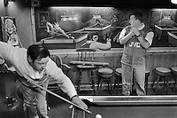 Snooker in a pub in Ladock, Cornwall with a mural depicting Elvis, Frank Sinatra, Jimi Hendrix and John Lennon playing pool.
