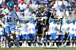 DURHAM, NC - APRIL 08: Notre Dame's Pierre Byrne (33). The Duke University Blue Devils hosted the University of Notre Dame Fighting Irish on April 8, 2017, at Koskinen Stadium in Durham, NC in a Division I College Men's Lacrosse match. Duke won the game 11-8.