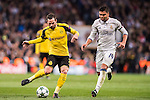 Gonzalo Castro (l) of Borussia Dortmund is followed by Carlos Henrique Casemiro of Real Madrid during the 2016-17 UEFA Champions League match between Real Madrid and Borussia Dortmund at the Santiago Bernabeu Stadium on 07 December 2016 in Madrid, Spain. Photo by Diego Gonzalez Souto / Power Sport Images
