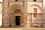 Baptistery in Parma, Italy which dates back to the 13th and 14th century; the Baptistery is an octagonal shape with pink Verona marble on the outside