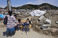 Visitors to the Ishinomaki Mangattan museum, Ishinomaki, Miyagi Prefecture, Japan, May 5, 2011. Almost two months after the devastating earthquake and tsunami the reconstruction has barely begun.