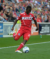 Chicago forward Patrick Nyarko (14) crosses the ball.  The Chicago Fire defeated the New England Revolution 3-2 at Toyota Park in Bridgeview, IL on Sept. 25, 2011.