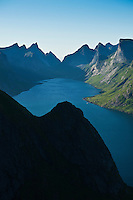 View of Kjerkfjorden and mountains from Reinebringen peak, Lofoten islands, Norway