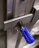 The door at the Sound Tiger's ice entrance is held shut by a screwdriver.  On some hits it partially popped out. - The University of Minnesota-Duluth Bulldogs defeated the Union College Dutchmen 2-0 in their NCAA East Regional Semi-Final on Friday, March 25, 2011, at Webster Bank Arena at Harbor Yard in Bridgeport, Connecticut.